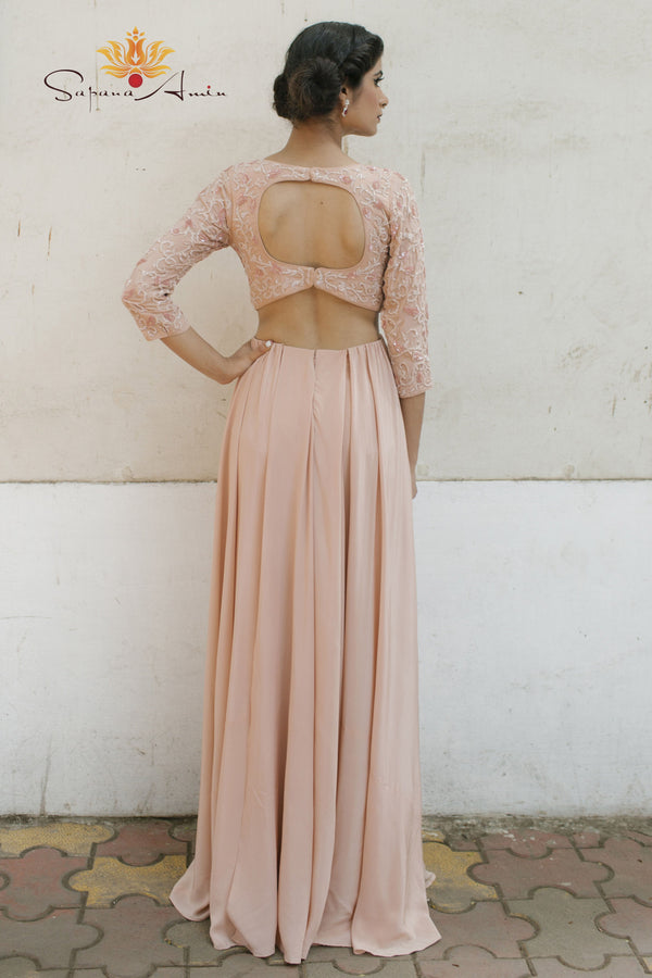 Blush pink silk gown