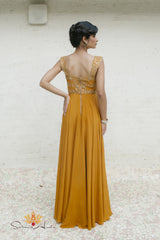 Golden mustard silk gown