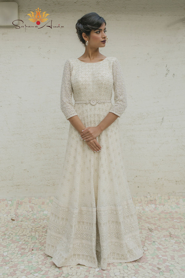 Ivory textured gown