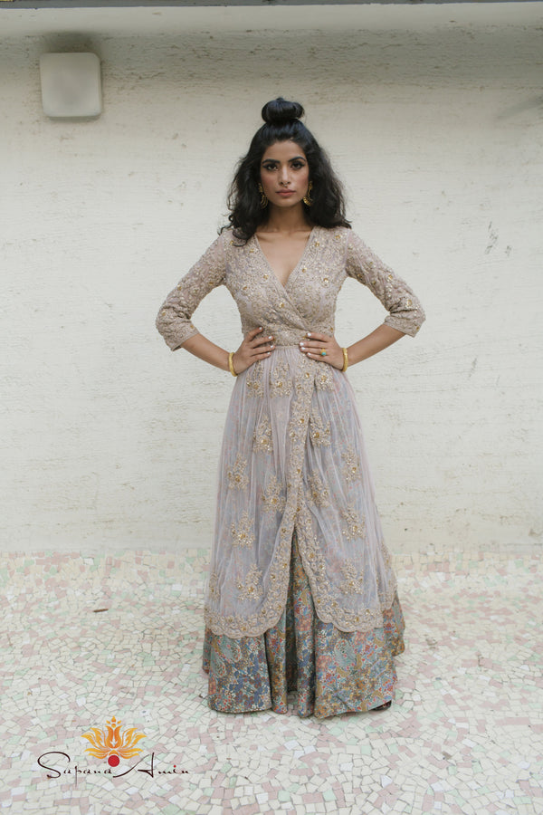 Grey wrap dress, peacock printed lehenga