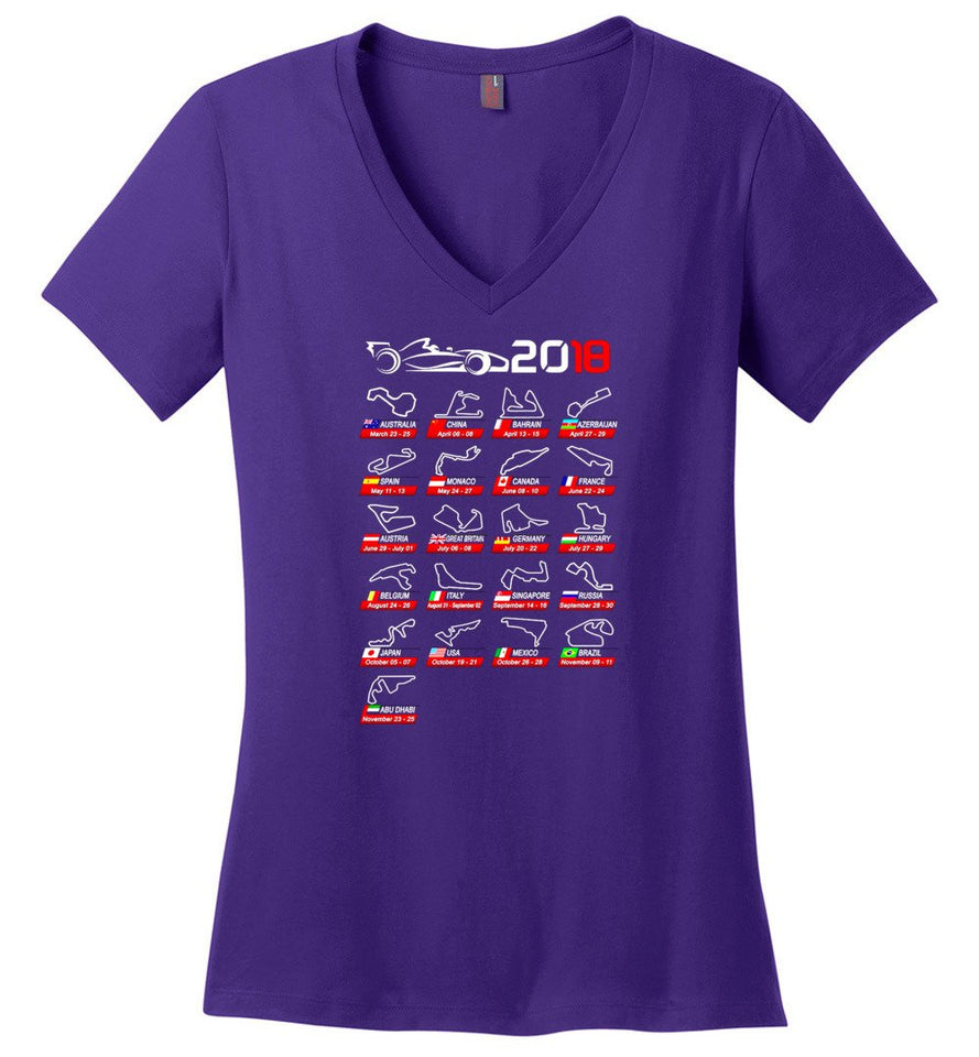 Calendar F1 2018 Circuits Sport Fast Speed Game Shirt Ladies Weight V Neck