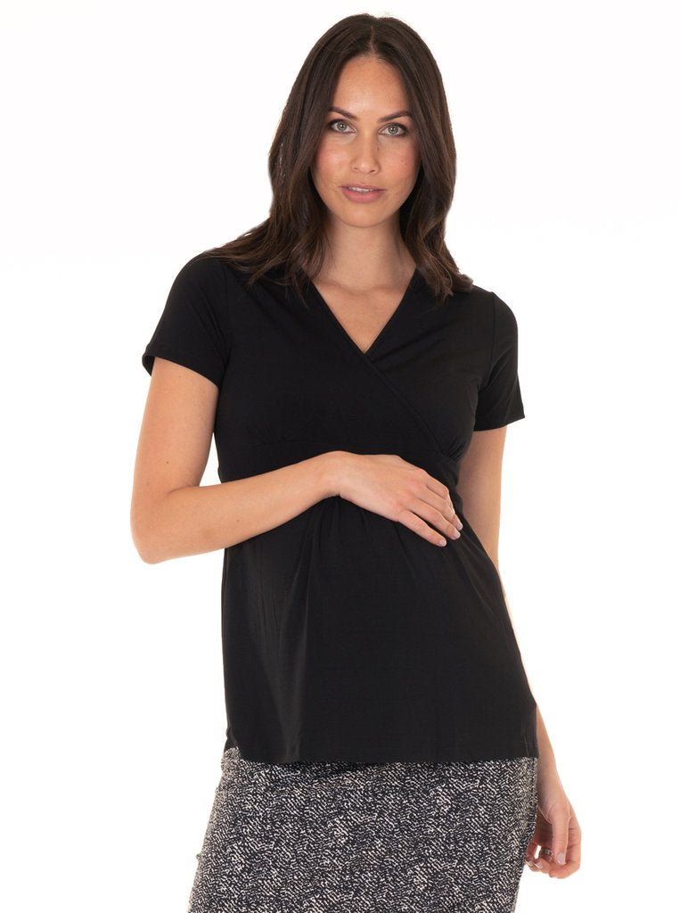 Angel Maternity Crossover Short Sleeve V-Neck Work Top - Black