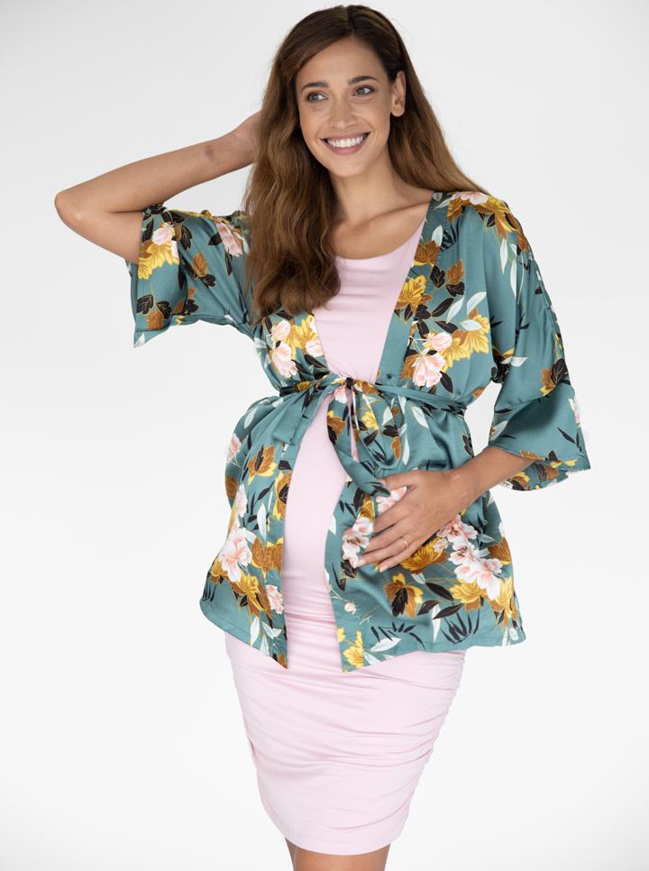 Angel Maternity Blooming Sateen Nursing Wrap Top - Green Floral