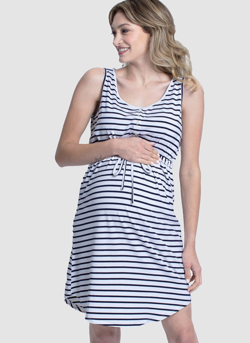 Angel Maternity Button Front Drawstring Summer Dress - Stripes