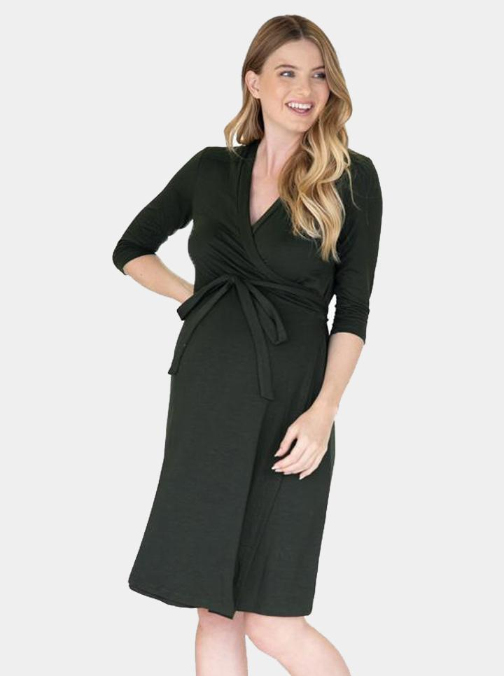 Angel Maternity Classic Wrap Feeding Dress - Khaki