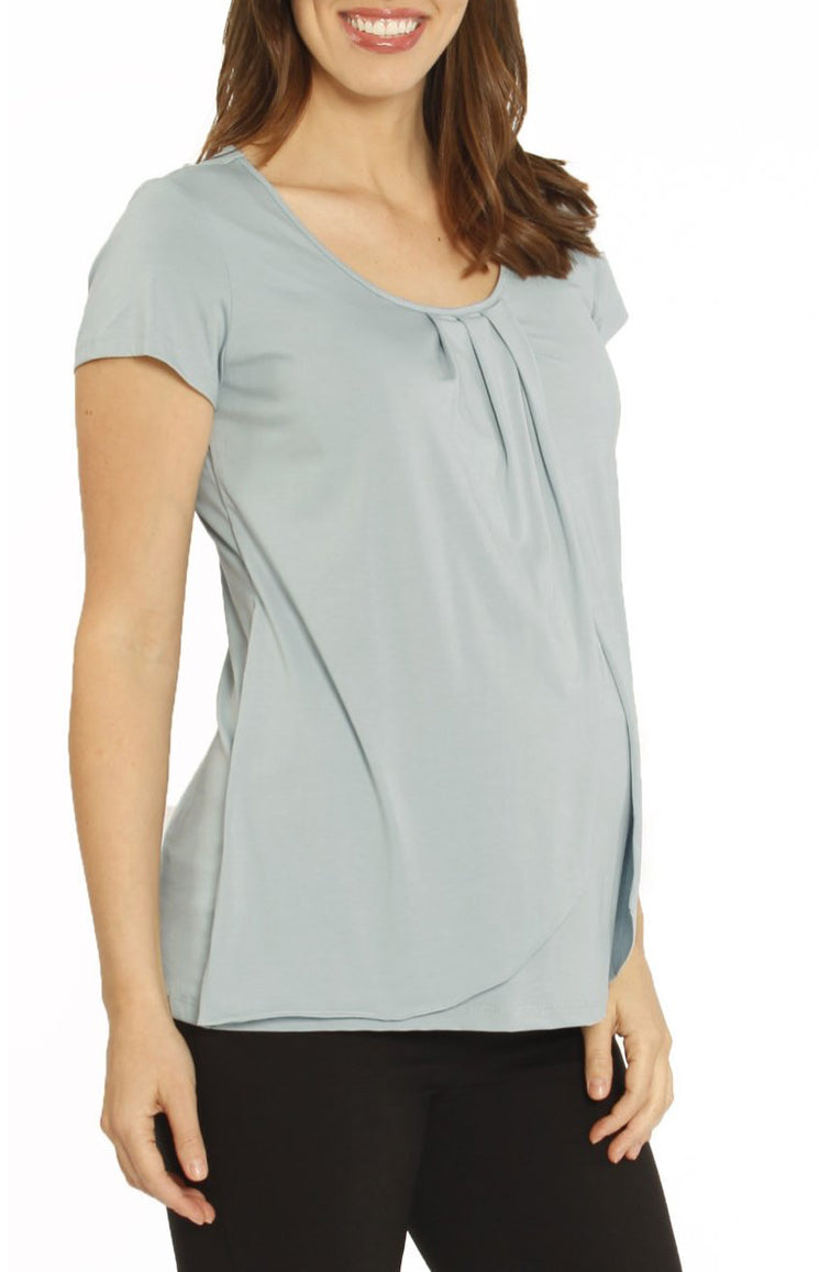 Angel Maternity Short Sleeved Petal Front Nursing Top - Mint Pearl