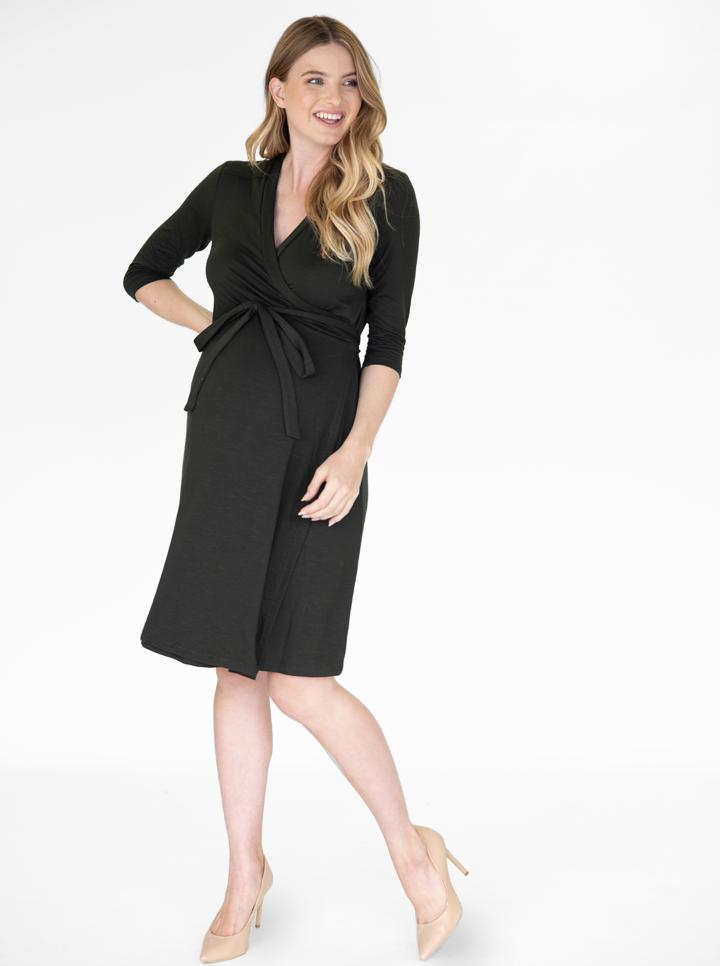 Angel Maternity Classic Wrap Feeding Dress - Black