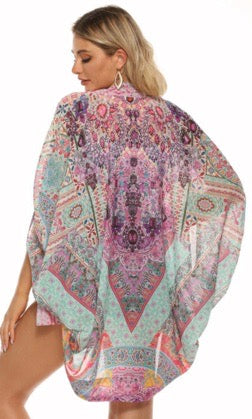 Gigi & Ella Short Cape in Pink / Purple Print