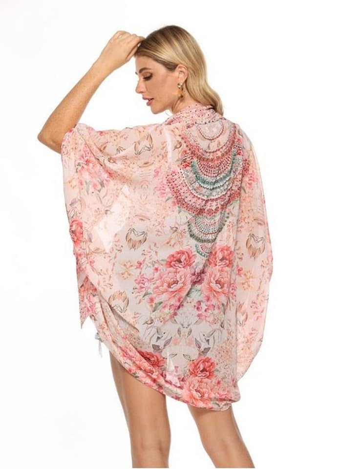Gigi & Ella Short Cape in Peach / Rose Print