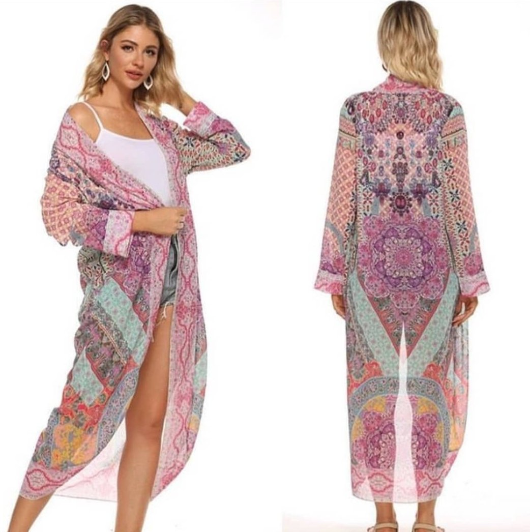 Gigi & Ella Long Cape in Pink / Purple Print