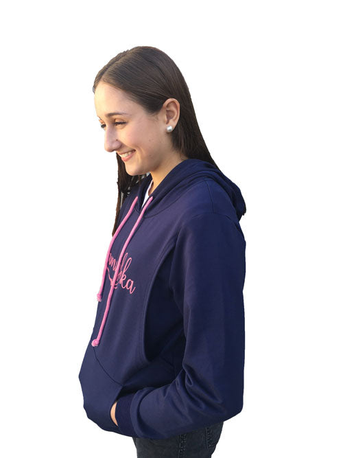 Mamushka Active Navy Hoodie Maternity & Nursing with Pink Print