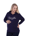 Mamushka Fleece Lined Maternity & Nursing Hoodie in Navy with White Print