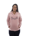 Mamushka Fleece Lined Maternity & Nursing Hoodie in Rose Gold with Navy Print