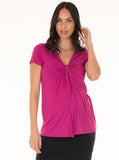 Angel Maternity Short Sleeved Knot Front Nursing Top - Pink