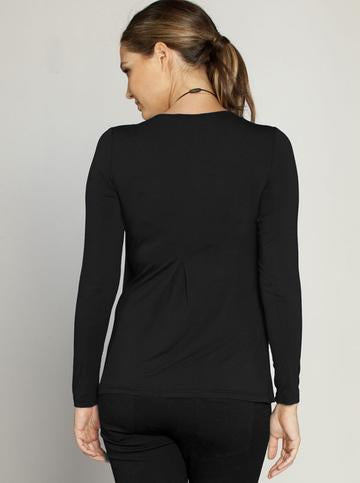 Angel Maternity Long Sleeved Petal Front Nursing Top - Black