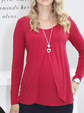 Angel Maternity Long Sleeved Petal Front Nursing Top - Red