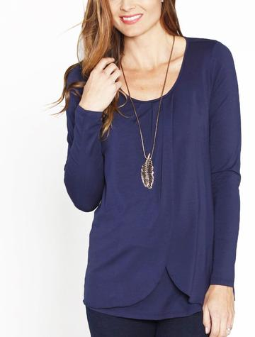 Angel Maternity Long Sleeved Petal Front Nursing Top - Navy
