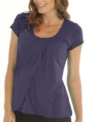 Angel Maternity Short Sleeved Petal Front Nursing Top - Deep Violet