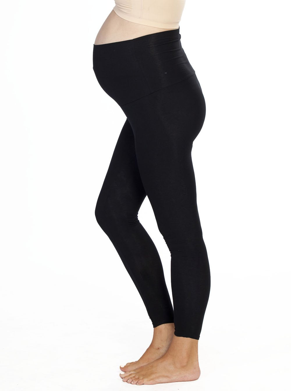 Angel Maternity Basic Cotton Legging - Black