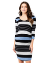 Ripe Maternity Striped Nursing Tube Dress in Blue Marle / Silver