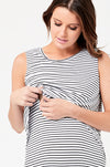 Ripe Maternity Stripe Swing Back Nursing Tank - White / Black Stripe
