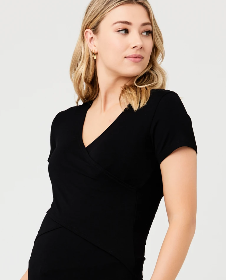 Ripe Maternity 'Embrace' Short Sleeve Nursing Tee - Black