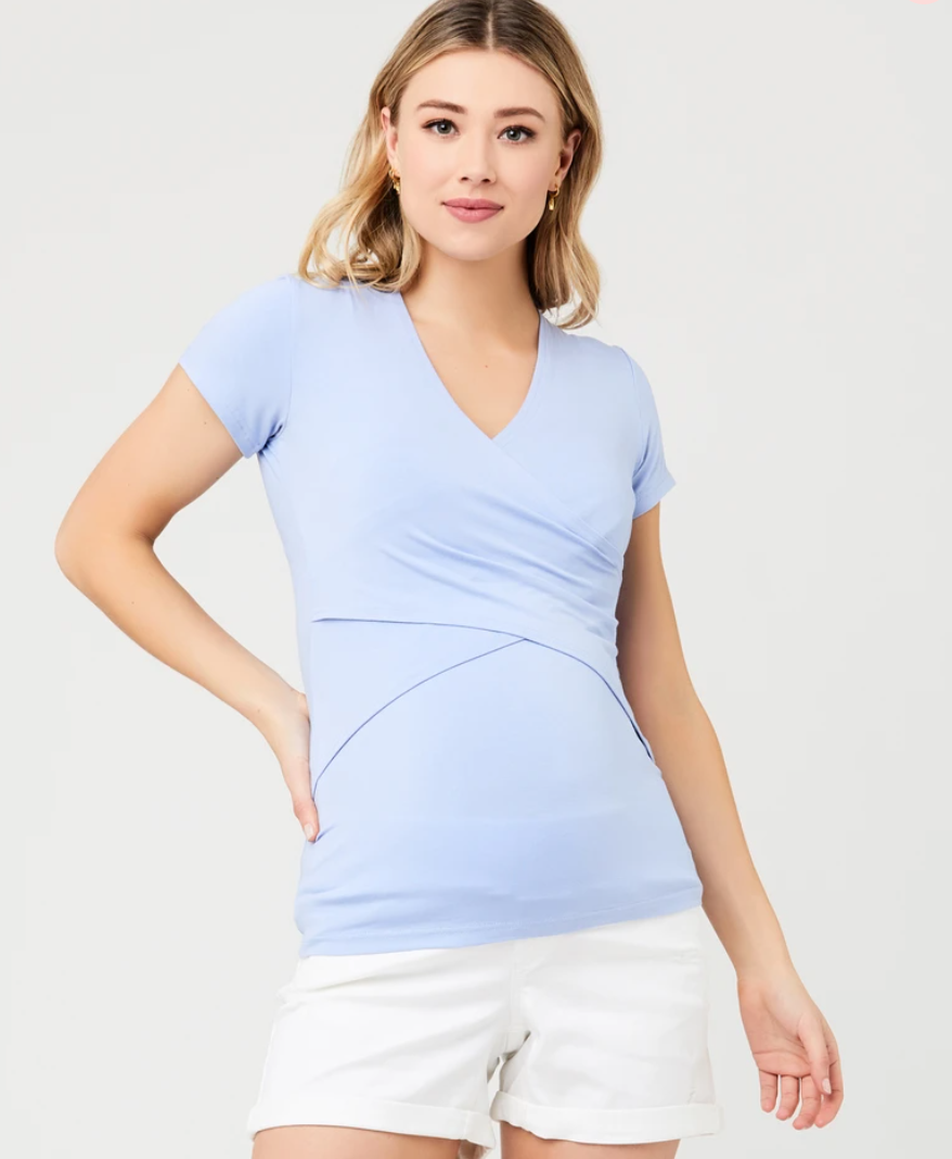 Ripe Maternity 'Embrace' Short Sleeve Nursing Tee - Blue Bell