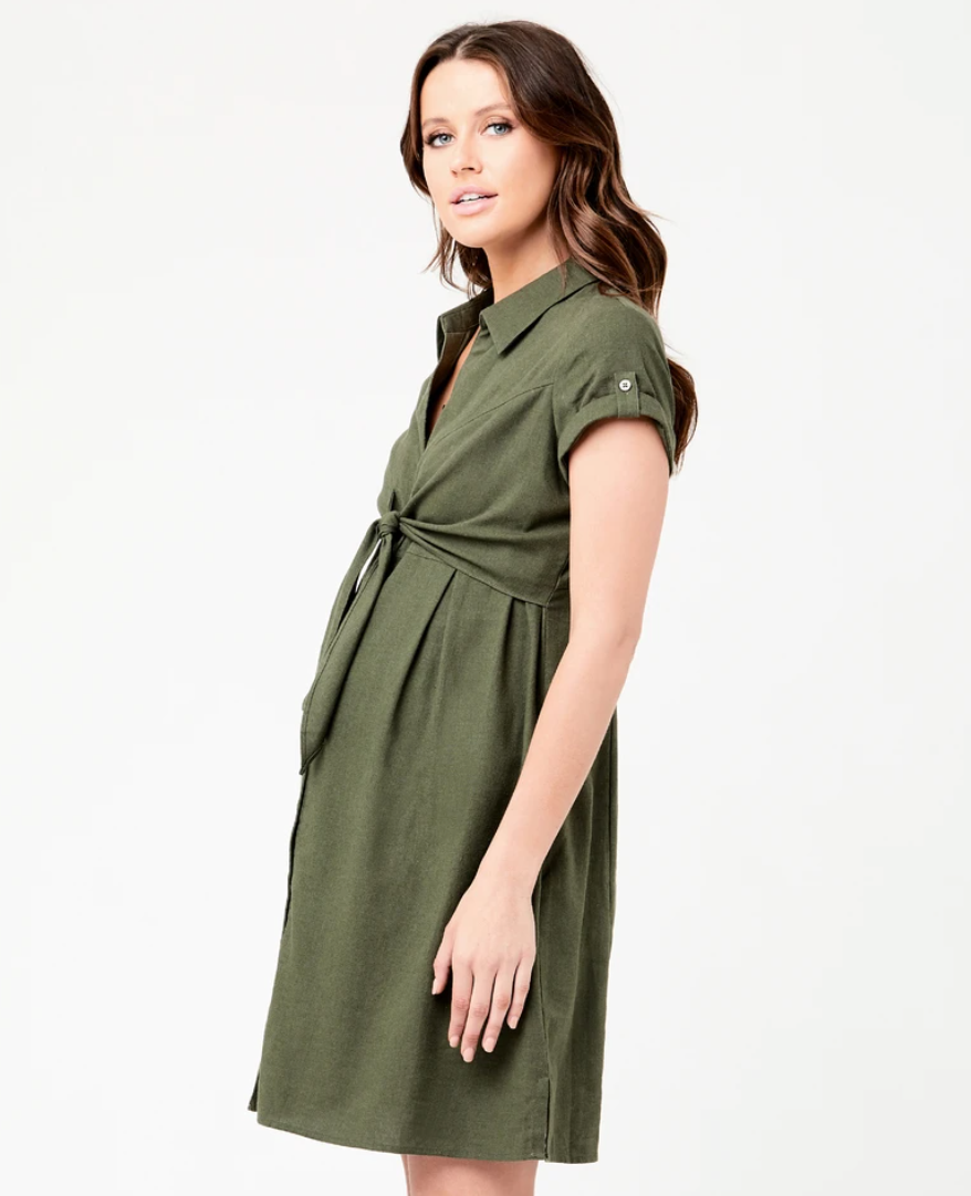 Ripe Maternity 'Colette' Tie Up Dress - Olive