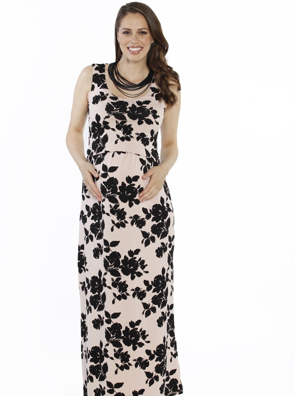Angel Maternity 'Busy Mama' Nursing Maxi Dress - Floral in Pink