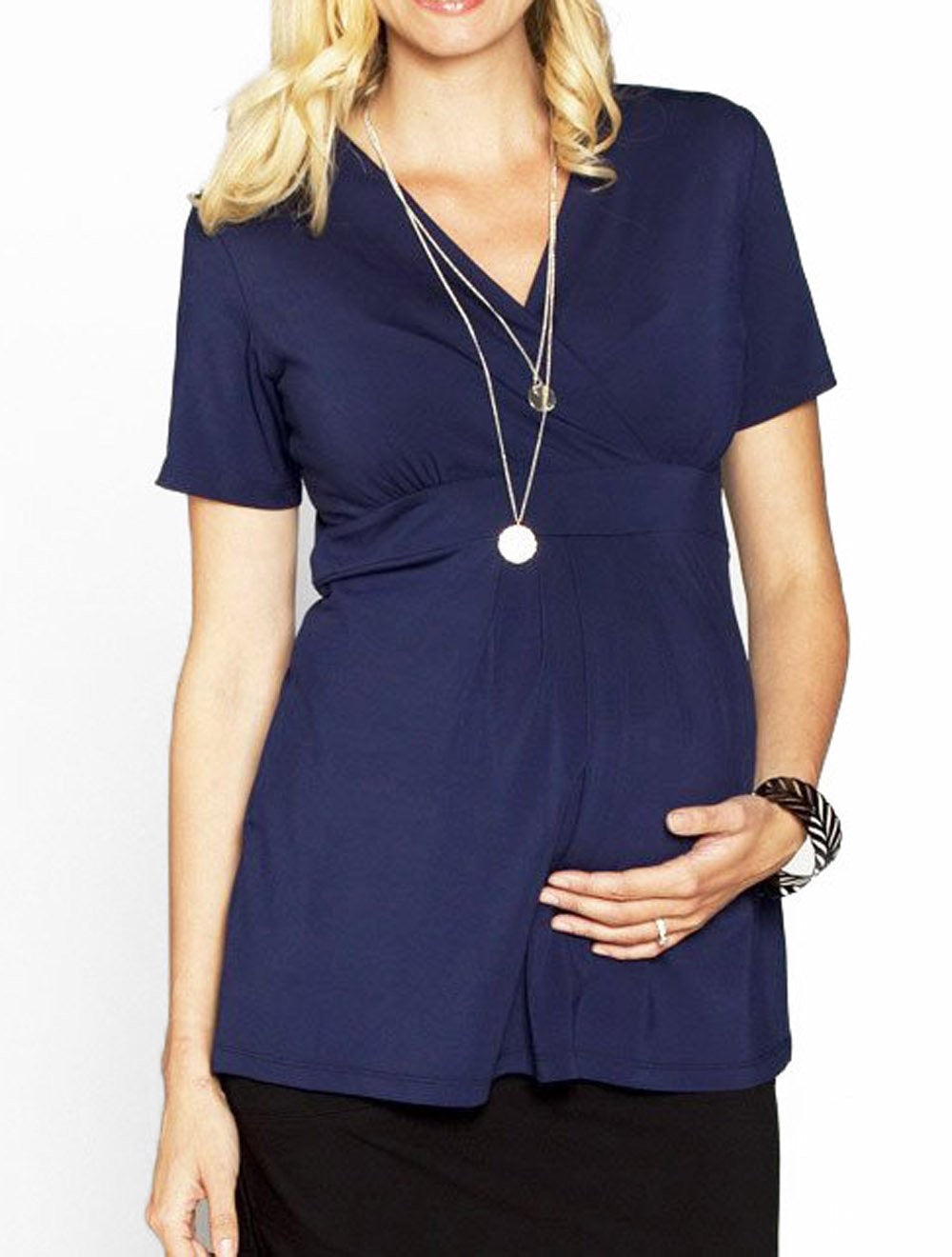 Angel Maternity Crossover Short Sleeve V-Neck Work Top - Navy