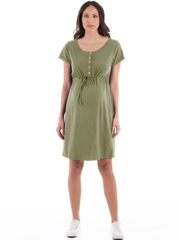Angel Maternity Nursing Drawstring Dress - Khaki