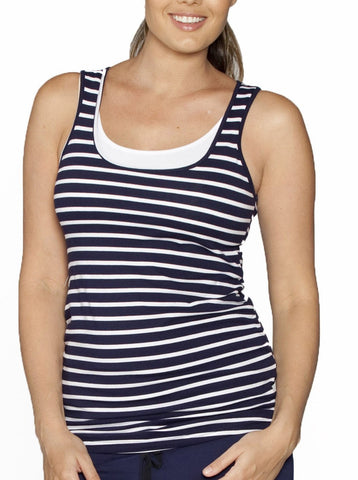 Angel Maternity Basic Breastfeeding Nursing Tank Top in Navy Stripes