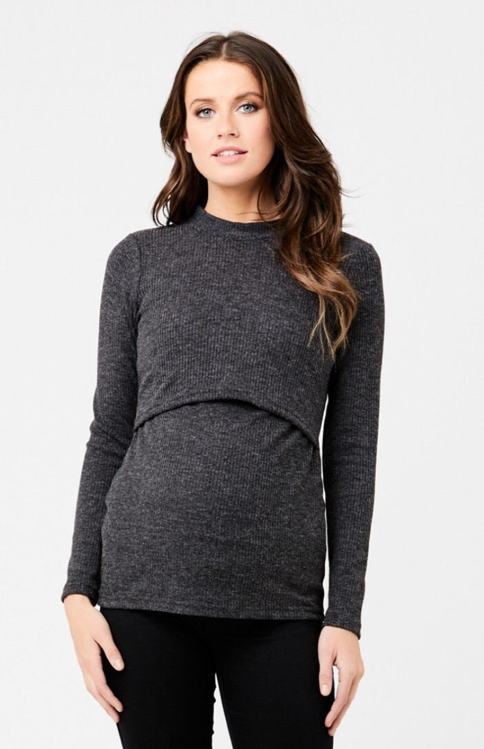 Ripe Maternity Turtle Neck Charcoal Nursing Top