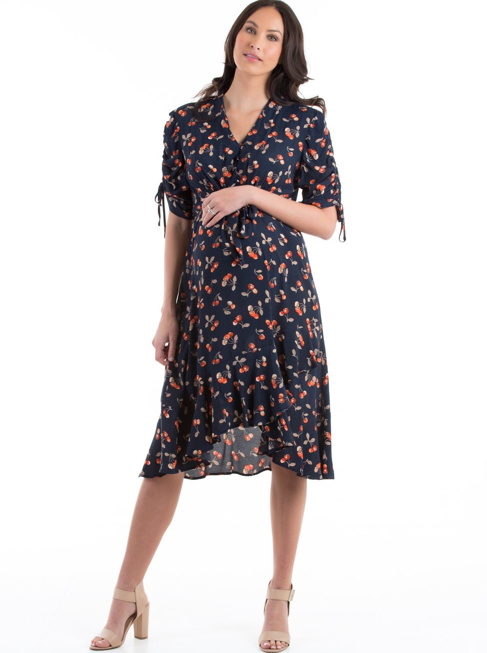 Angel Maternity 'Bella' Midi Dress in Navy Cherry Print