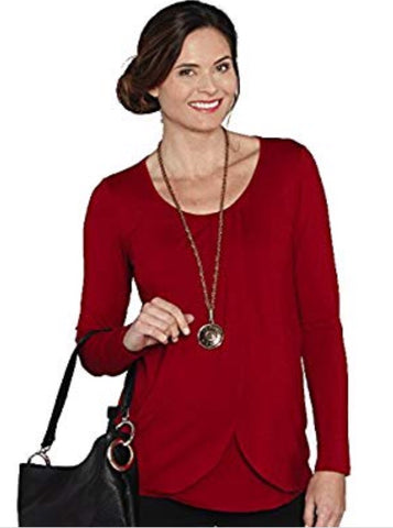 Petal front nursing top in Red