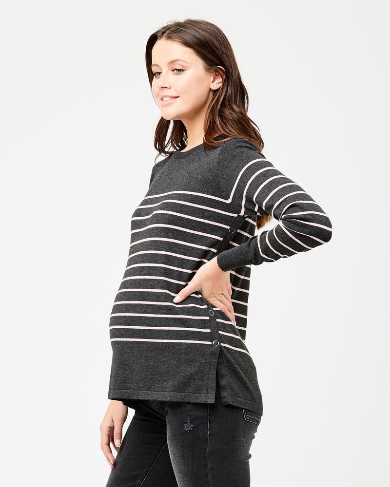 Ripe Maternity Button Up Nursing Knit in Charcoal Marle / Pink
