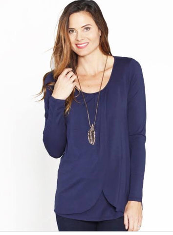 Petal front nursing top in Navy