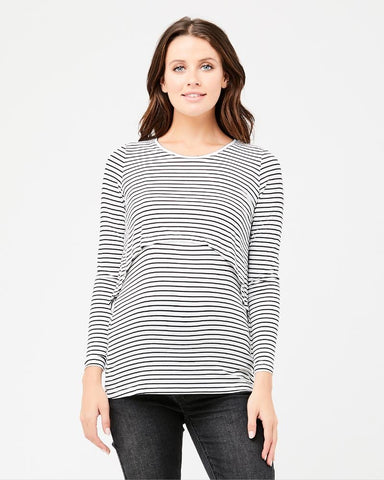 Ripe Maternity Stripe Swing Back Nursing Top in Black / White