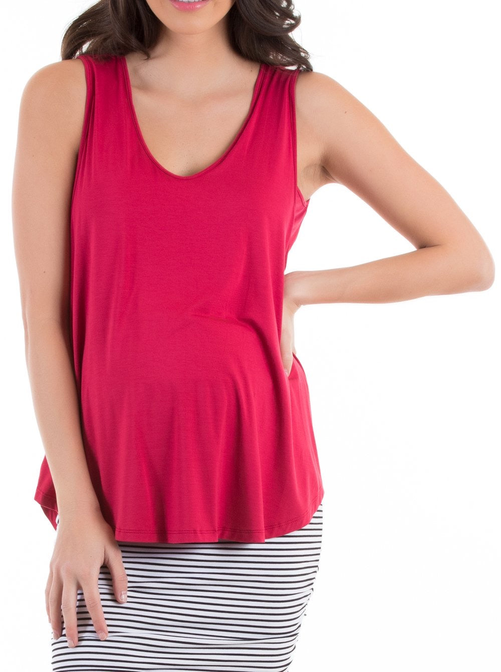 Angel Maternity 'The Swing Tank' Nursing Top in Red
