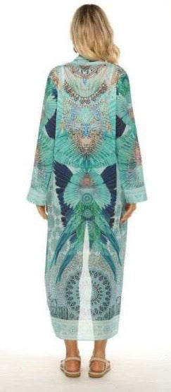 Gigi & Ella Long Cape in Turquoise Print