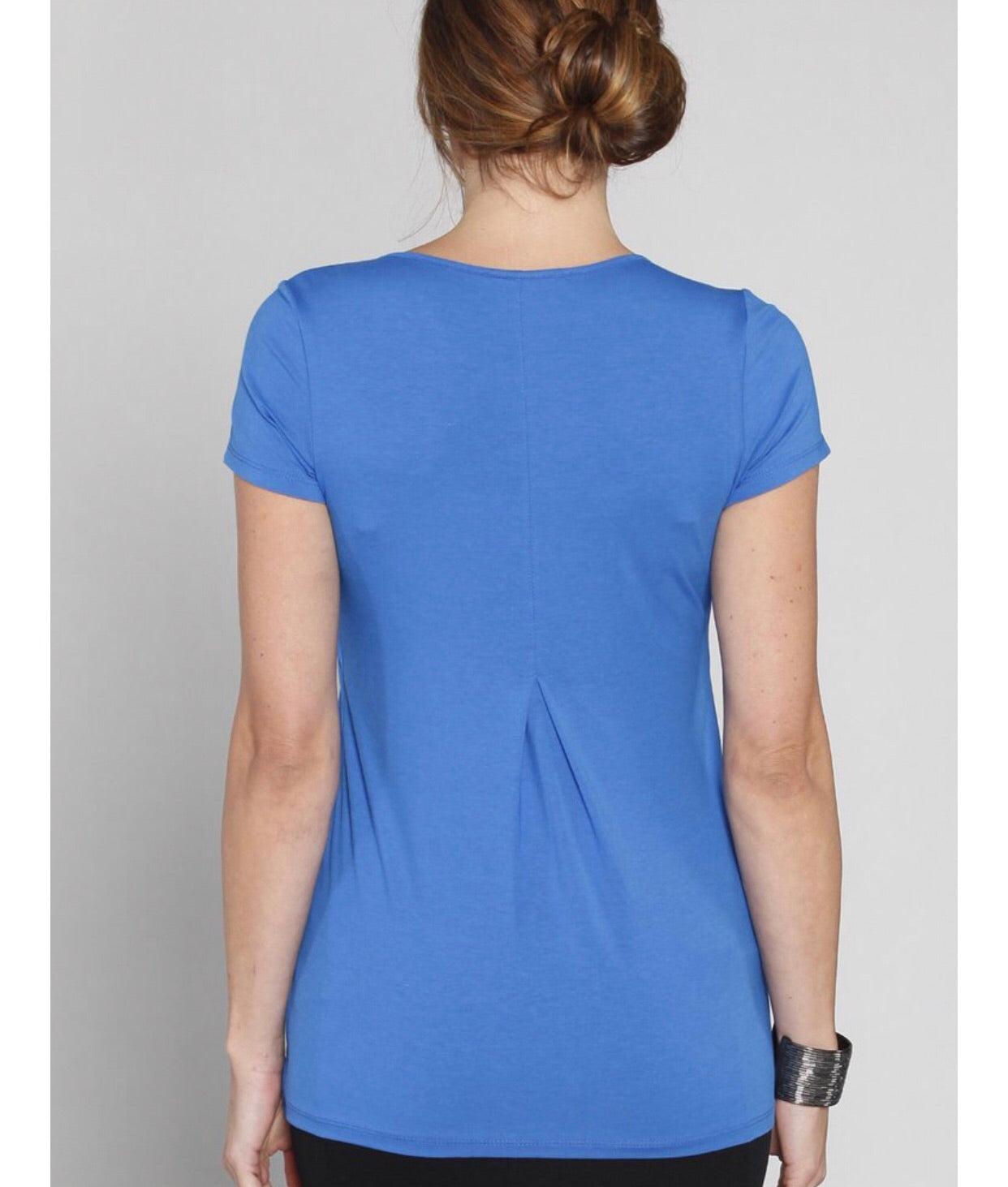 Angel Maternity Short Sleeved Petal Front Nursing Top - Blue