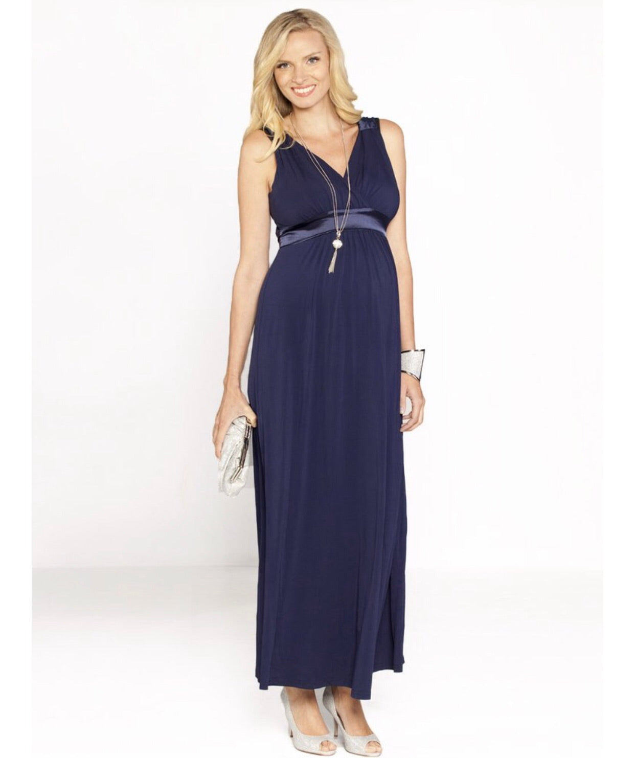 Angel Maternity 'Sue' Maternity and Nursing Formal Dress - Navy