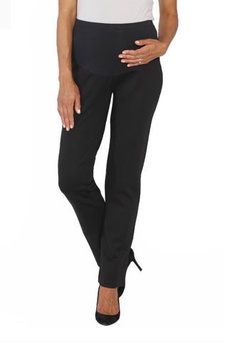 Maternity Straight Cut Work Ponti Pant - Black