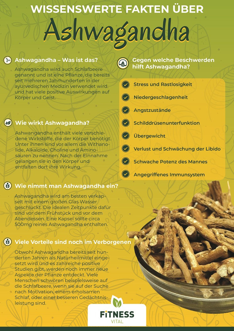 Ashwagandha effect, origin and side effects Infographic