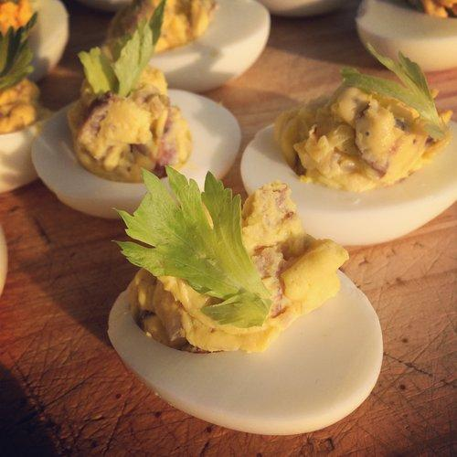 Bacon Sausage Deviled Eggs