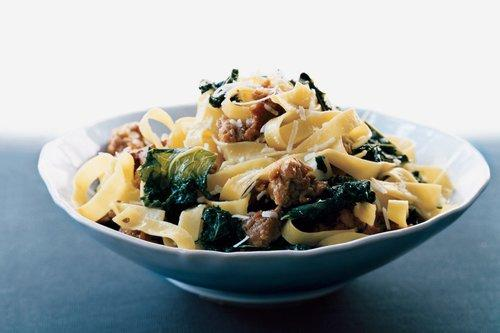 Portabella, Bacon Sausage, and Kale Fettuccine