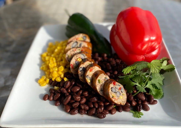 flexitarian sausage made with berkshire pork and real vegetables and legumes naturally smoked naturally encased