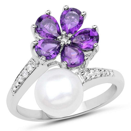 Pretty 4.69 CTW Genuine Pearl Amethyst and White Zircon .925 Sterling Silver Ring