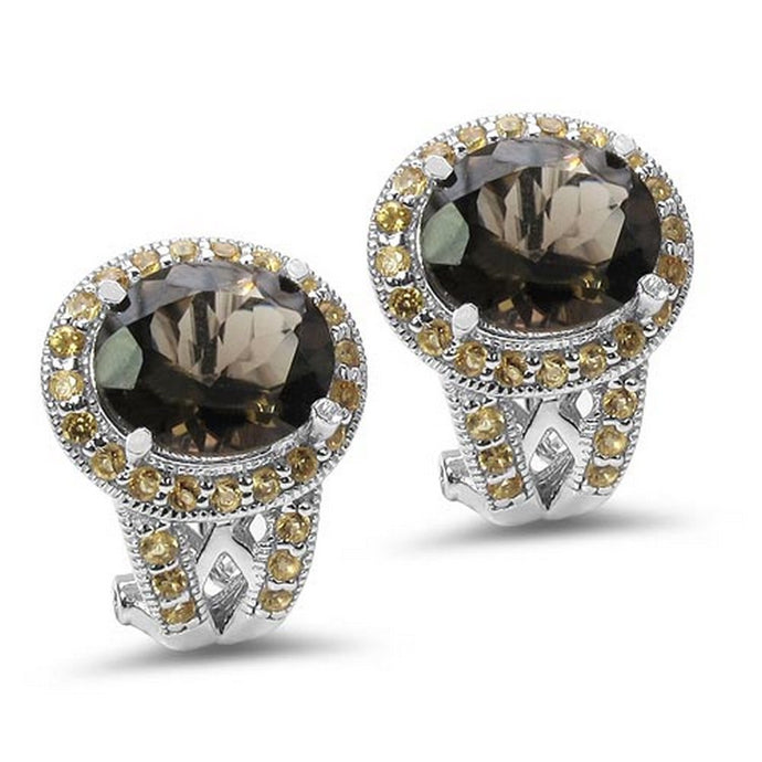 Stunning 10.36 Carat Genuine Smoky Topaz & Citrine .925 Sterling Silver Earrings