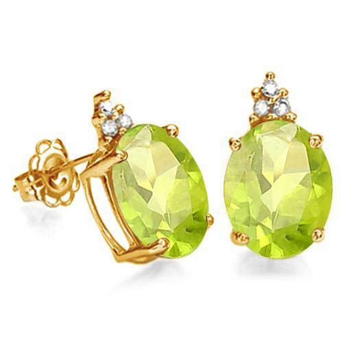 1.6 CARAT PERIDOT 10K SOLID YELLOW GOLD OVAL SHAPE EARRING WITH 0.03 CTW DIAMOND